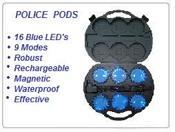 Police Knight Pods Blue Flashing Road Hazard Lights